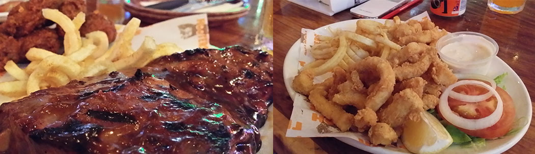 Hooters Rib and Wing Combo & Calamari with Curly Fries