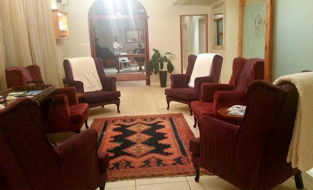 The cosy seating area where you wait for your treatment.