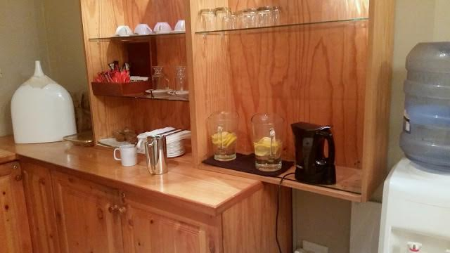 You can have a variety of refreshments, from fresh lemon water, to hot teas and coffees.