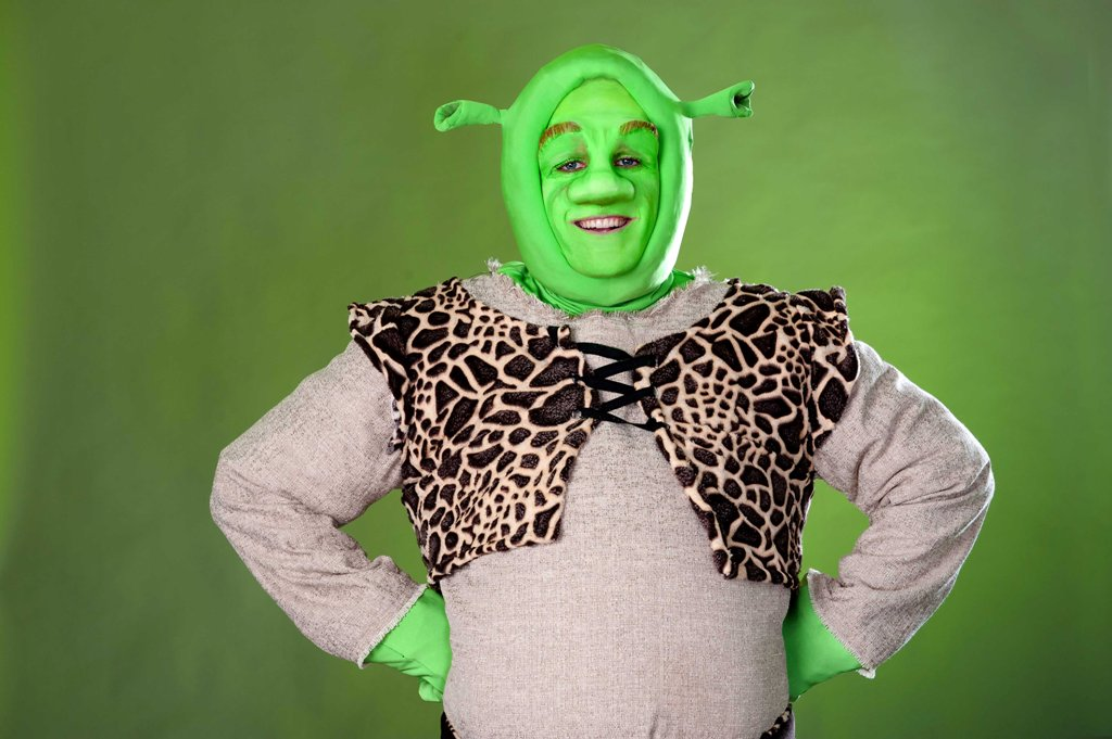 Lyle Buxton in the title role as Shrek. Photo by: Val Adamson
