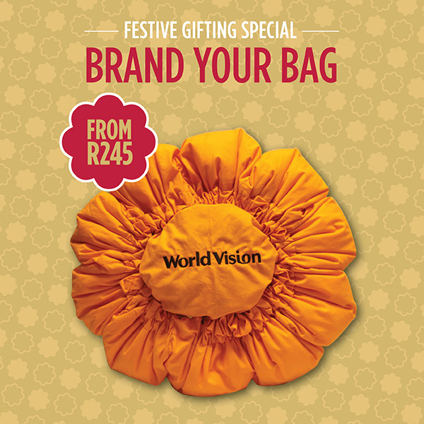 1.Brand your bag (i.e retail price of bag of your size plus R30 for printing/embroidery) – from R245. That is the cheapest bag and lowest branding cost.
